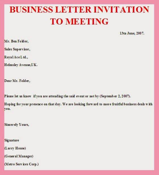 Meeting invitation sample business meeting invitation sample stopboris Choice Image
