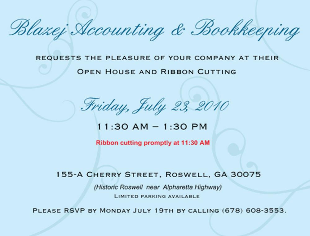 Business Opening Invitations Wording