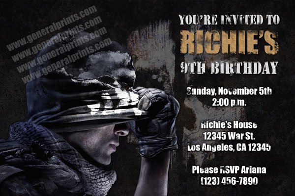Call Of Duty Black Ops 2 Birthday Party Invitations
