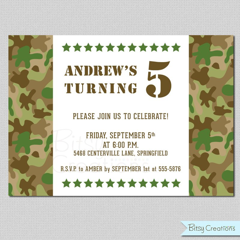 Camo Party Invitations