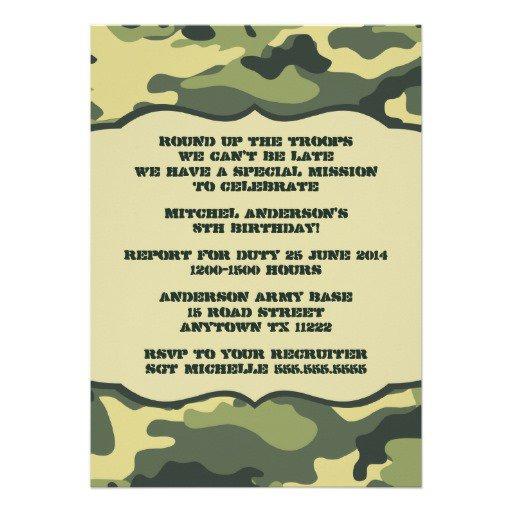 Camouflage Birthday Invitations Printable Free