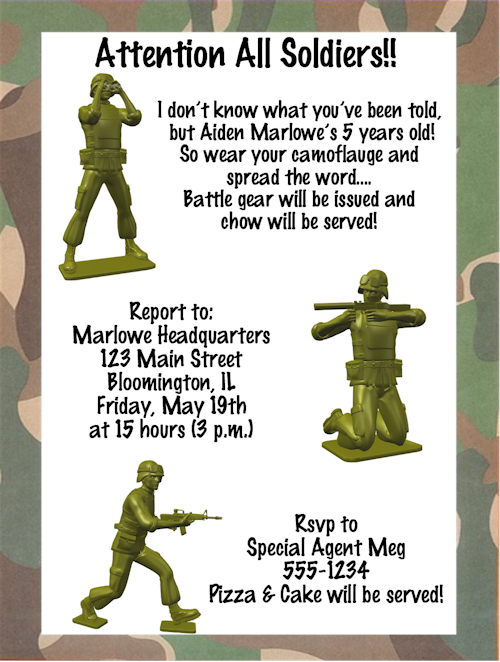 Camouflage Birthday Party Invitations