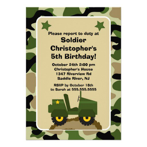 Camouflage Party Invitations- Free