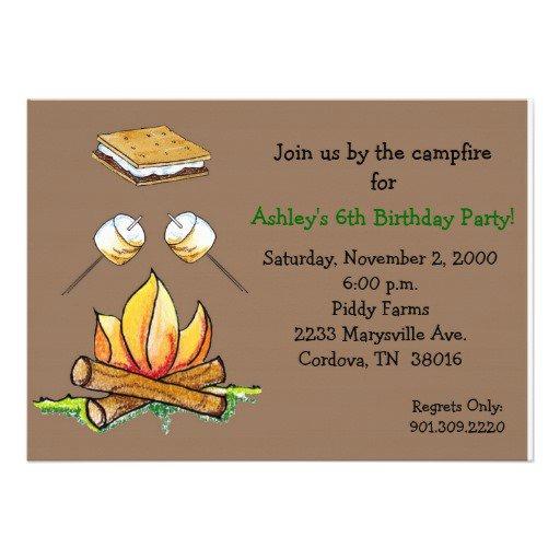 Campfire Birthday Invitation Templates