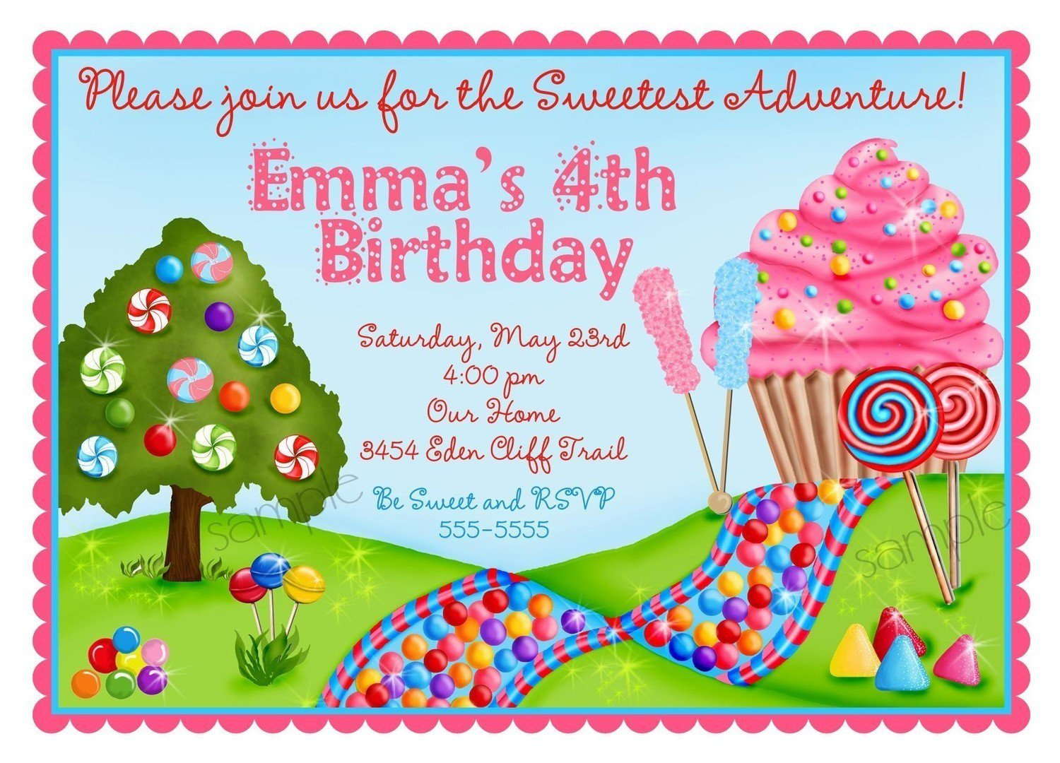 Candyland Birthday Invitations Free