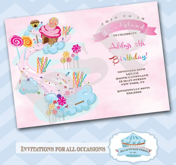 Candyland Birthday Invitations Free Printable