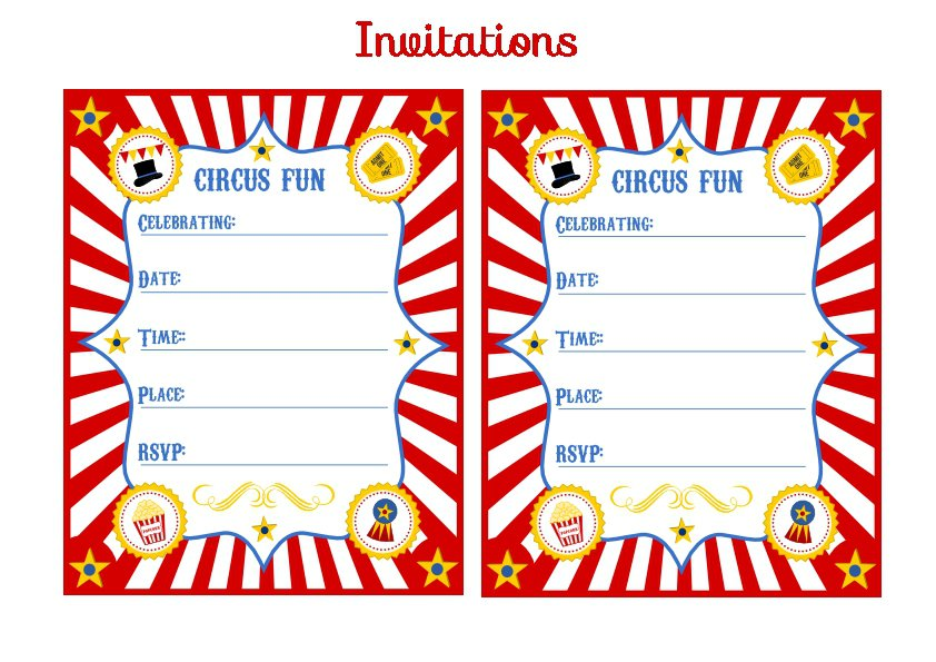 Carnival Birthday Invitations Printable