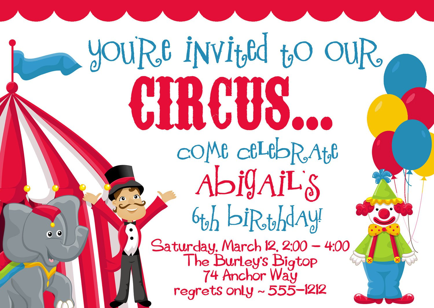 Carnival Birthday Party Invitations Wording
