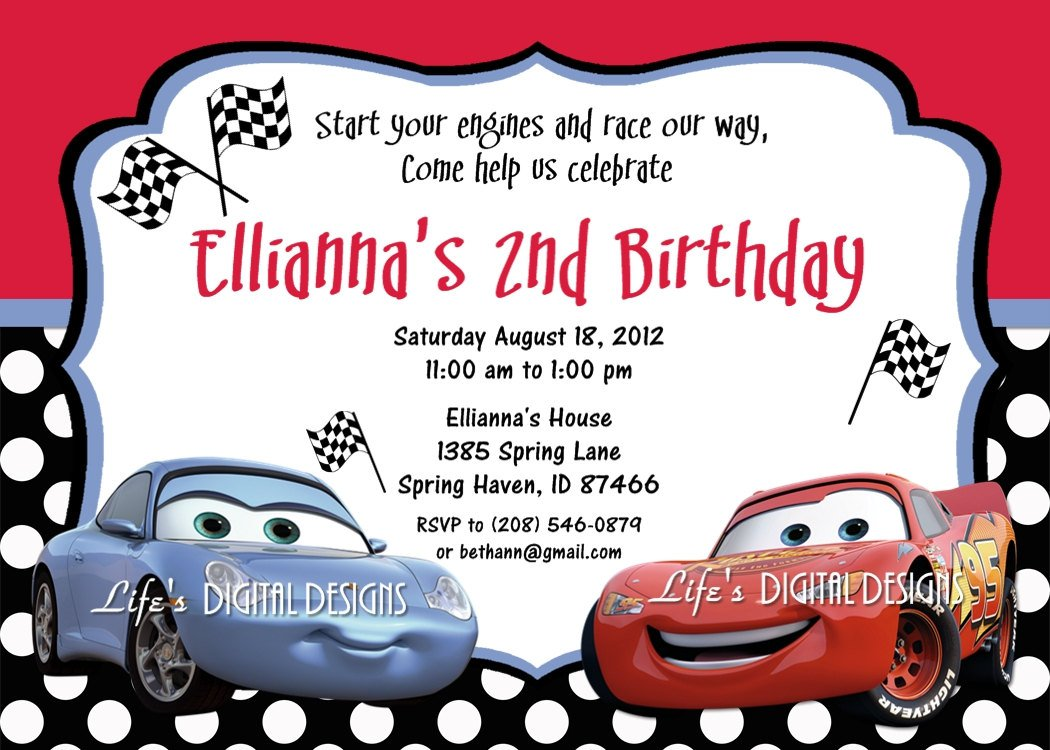 Cars Birthday Party Invitation Templates