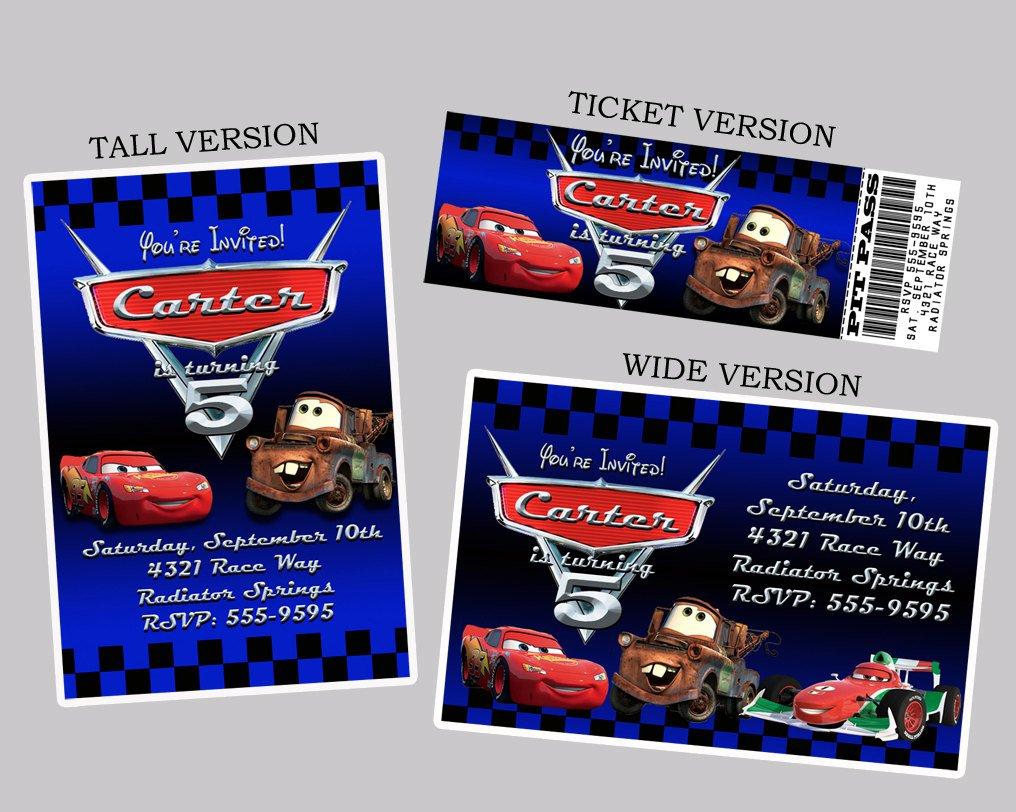 Cars Printable Birthday Invitations