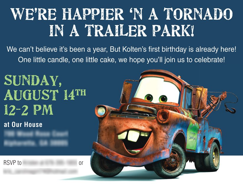 Cars Tow Mater Birthday Invitations