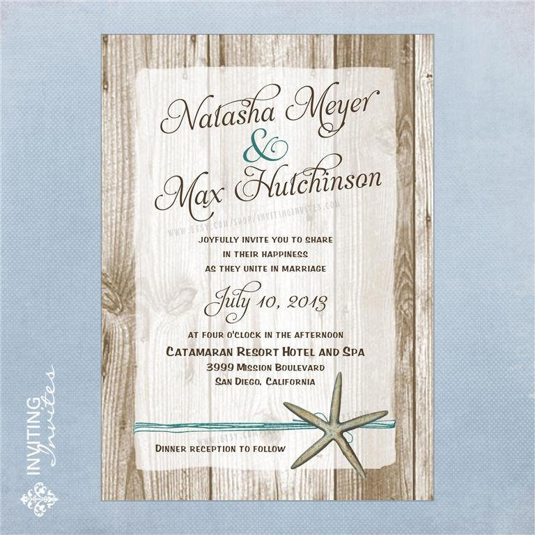 Casual Beach Wedding Invitation Wording