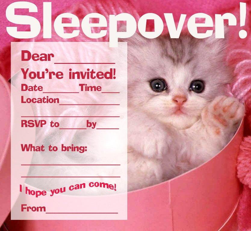 Cat Sleepover Invitations