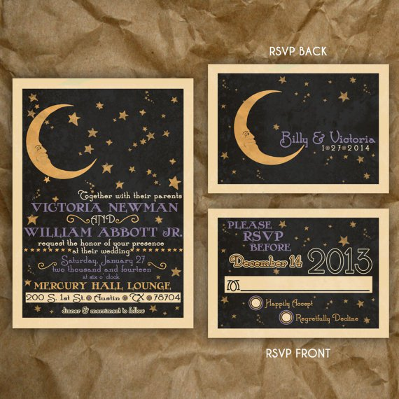 Celestial Themed Wedding Invitations