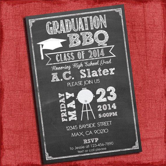 Chalkboard Style Graduation Party Invitations