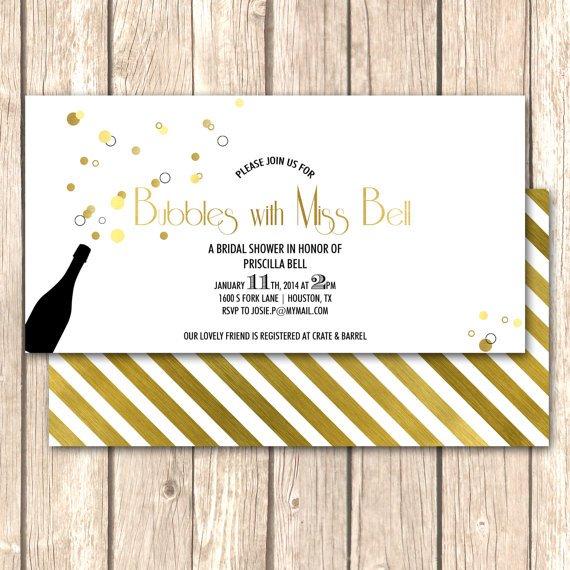 Bubbly and brunch bridal shower invitations for Champagne brunch bridal shower