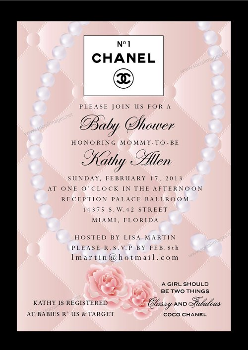 Chanel Baby Shower Invitations
