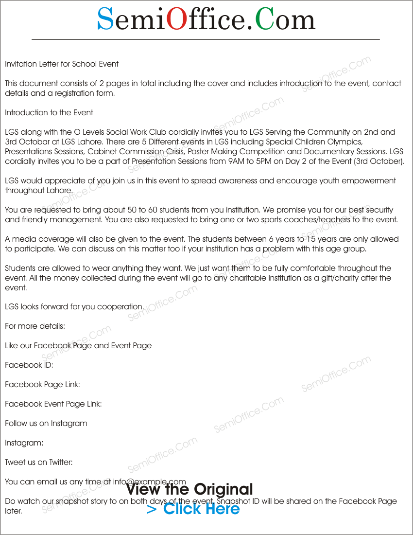 Charity Event Invitation Letter