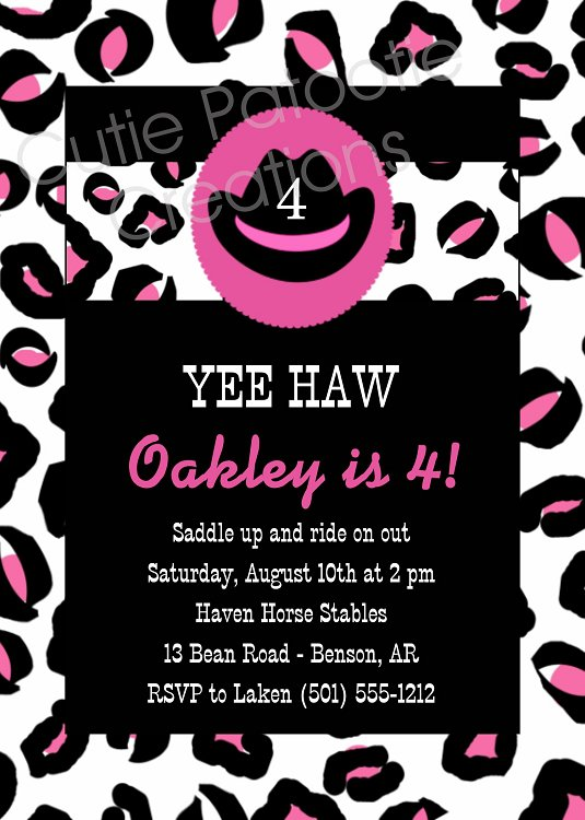 Cheetah Print Birthday Invitations
