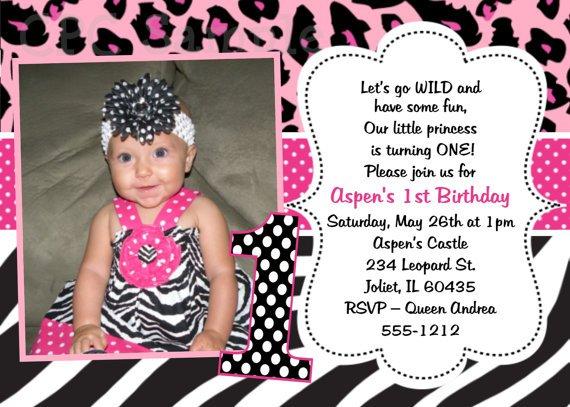Cheetah Print Birthday Party Invitations