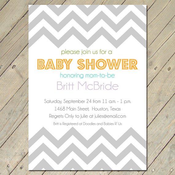Chevron Baby Shower Invitations Etsy