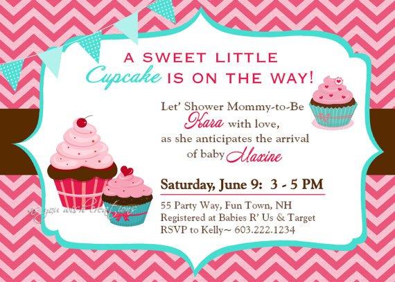 Chevron Cupcake Invitations Templates