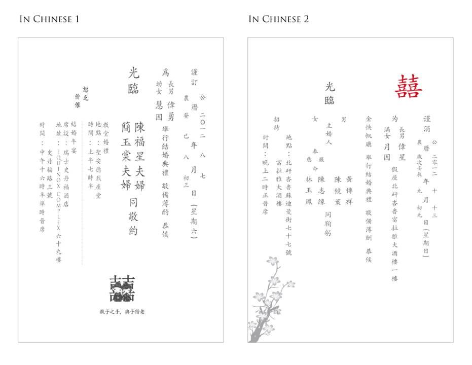 Chinese Wedding Invitation Wording Samples