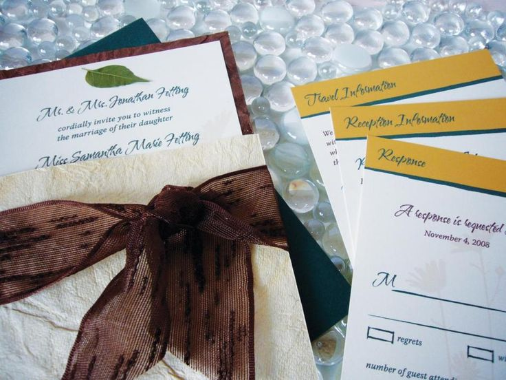 Chocolate Brown And Gold Wedding Invitations