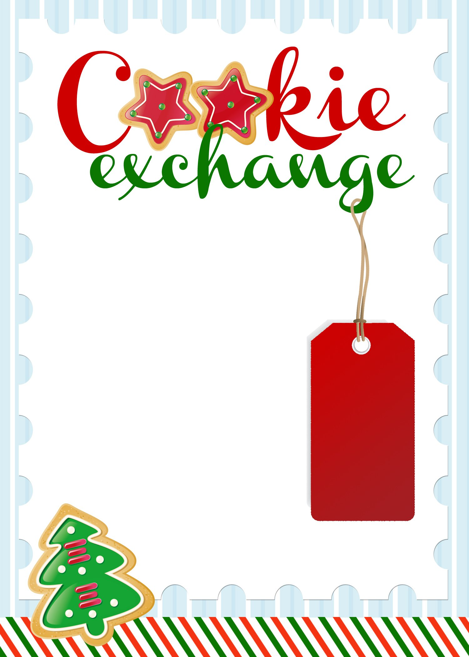 Christmas Cookies Printable Invitation Paper