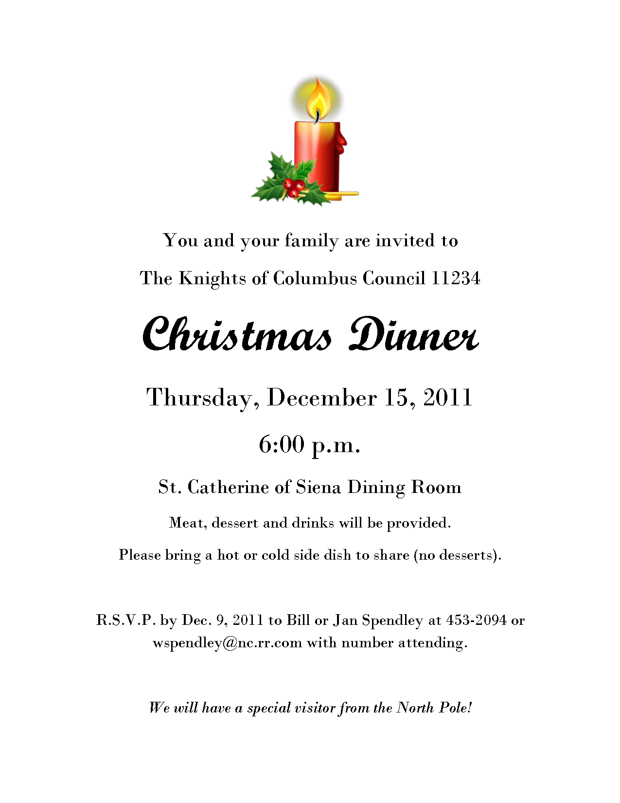 Christmas Eve Dinner Invitations