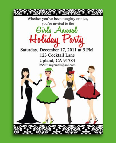 Christmas Party Invitations Girl Night Out