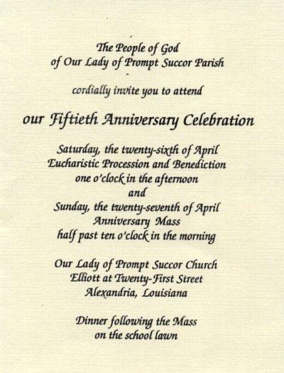 Church Anniversary Invitations Samples
