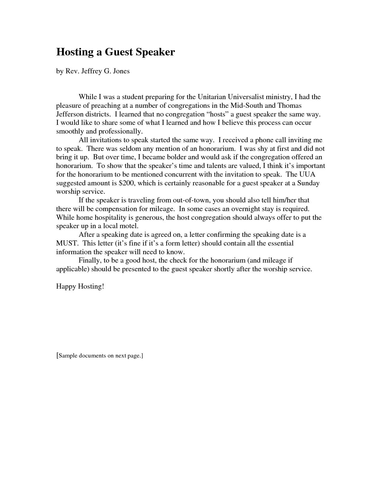 Church Guest Speaker Invitation Letter