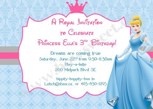 Cinderella Birthday Party Invitation Wording