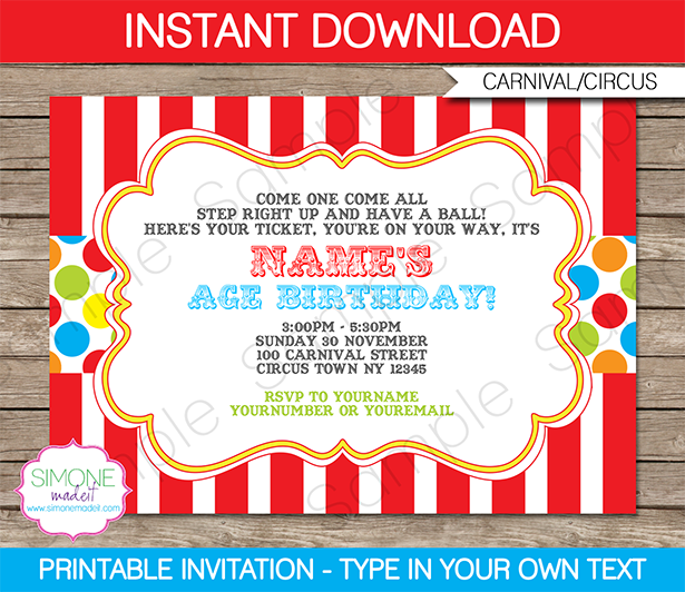 Circus Party Invitation Wording Ideas