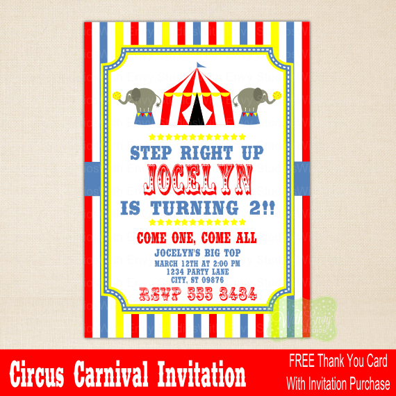 Circus Party Invitations Free
