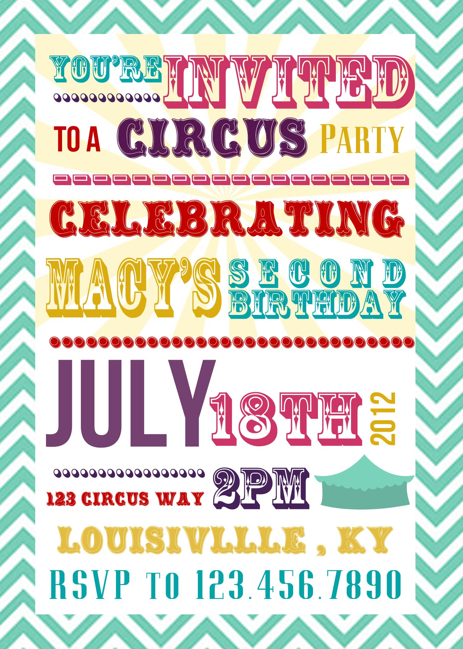 Circus Themed Party Invitation Wording