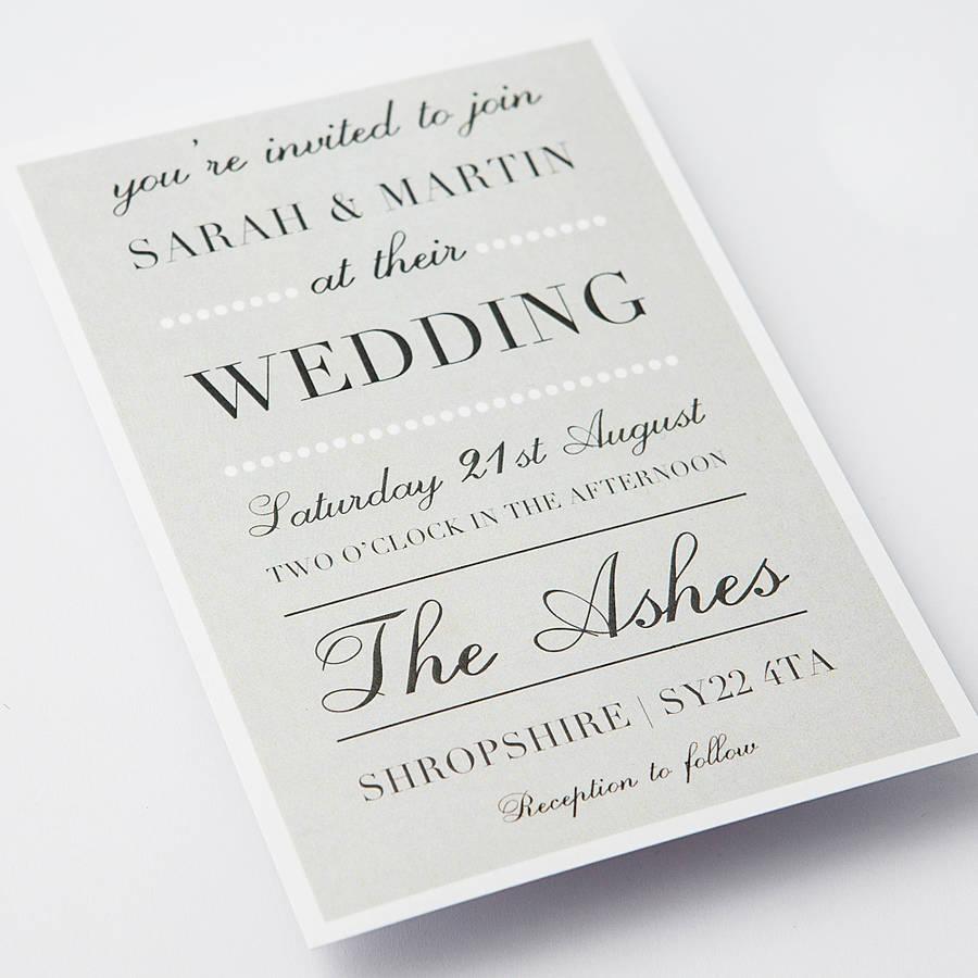 Classic Elegant Wedding Invitations Uk