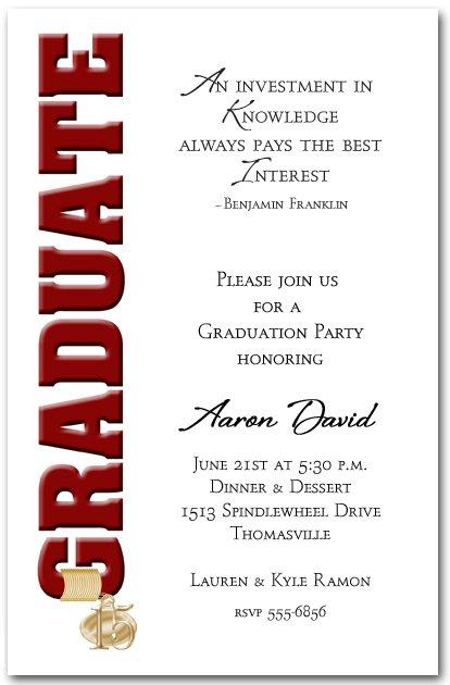 College Graduation Dinner Invitation Wording
