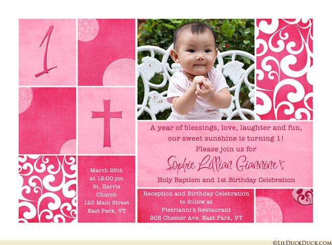 Combined Birthday And Christening Invitations