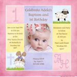 Combined First Birthday And Baptism Invitations