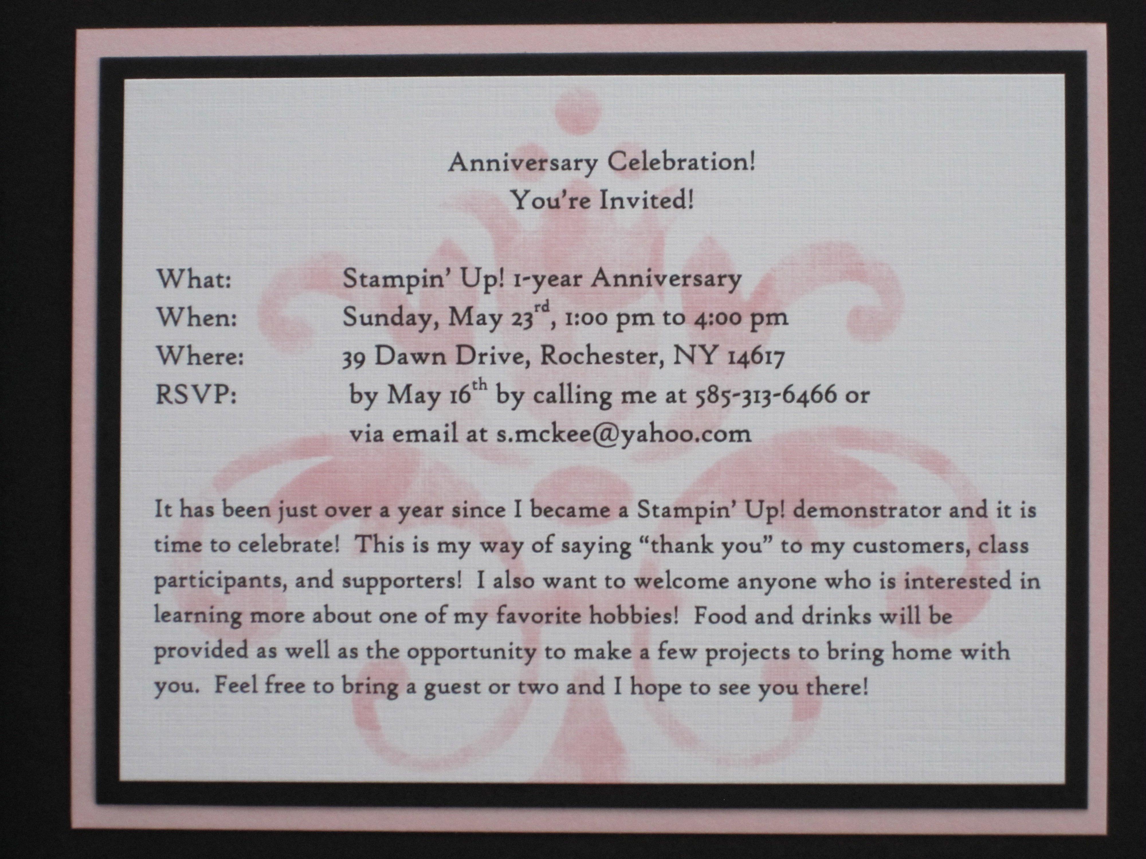 Company Anniversary Invitation Wording Samples
