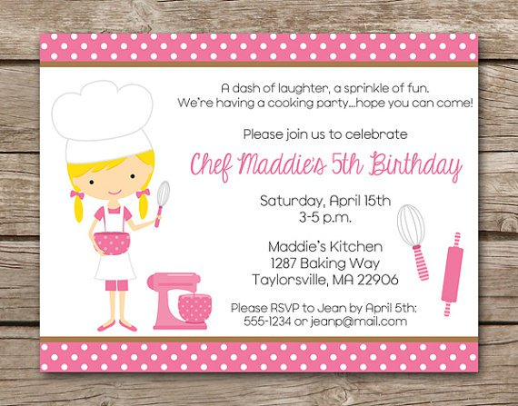 Cookie Baking Party Invitation Wording