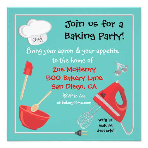 Cooking Baking Party Invitation