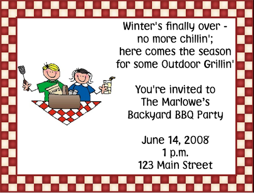 Cookout Invitations Wording