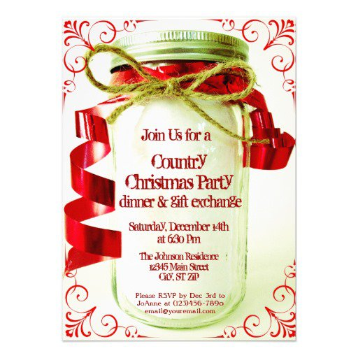 Country Holiday Party Invitations
