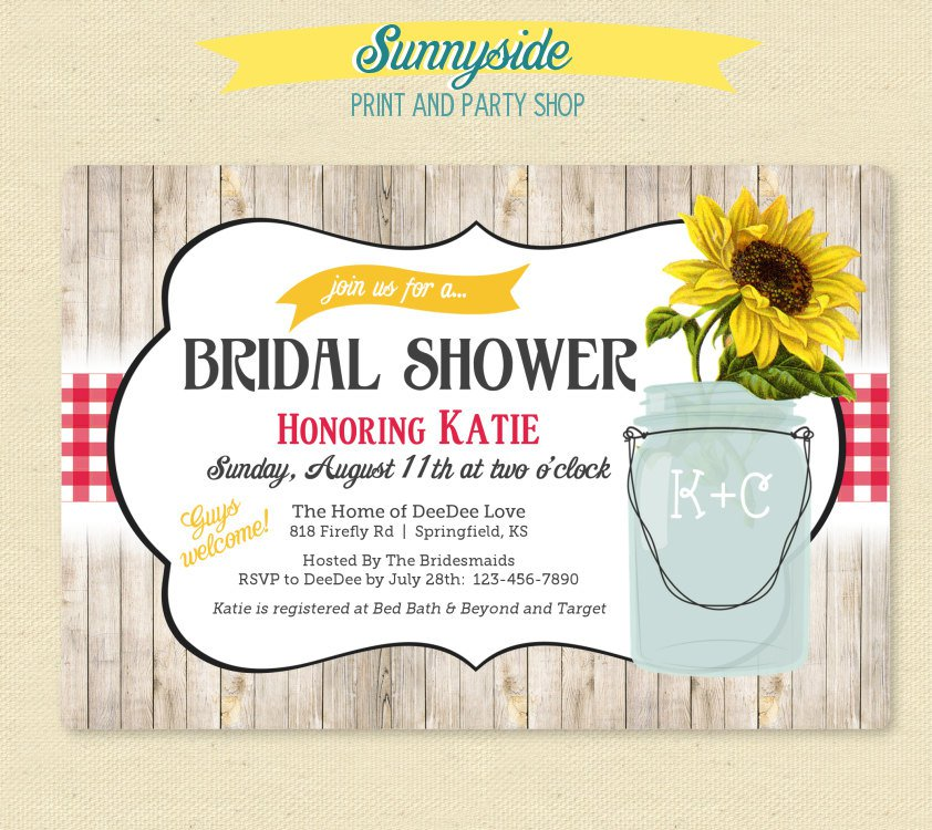 Country Sunflower Bridal Shower Invitations