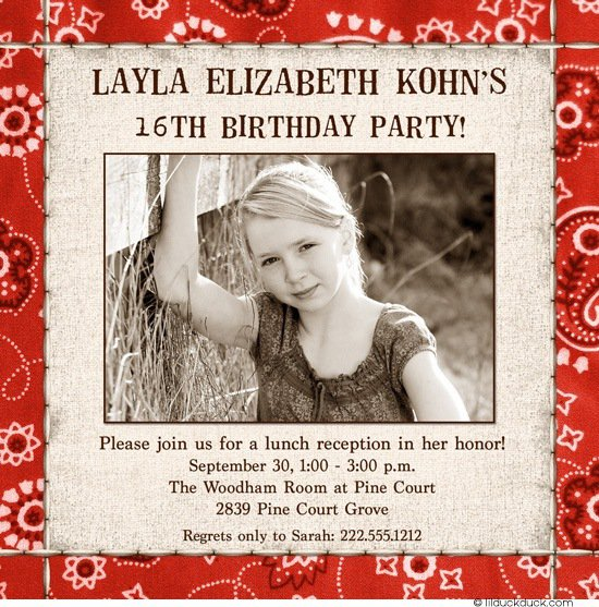 Country Sweet 16 Invitation Wording