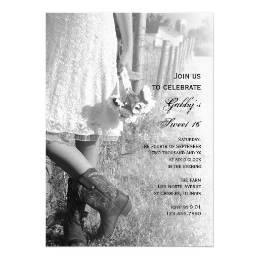 Country Sweet Sixteen Invitations