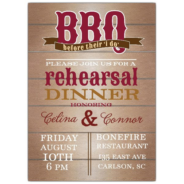 Country Wedding Rehearsal Dinner Invitations
